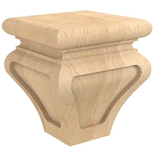 (Designs of Distinction Metro Bun Foot for Cabinets, Vanities, Furniture, and More - Raw/Unfinished Hardwood - Sanded, Ready to Finish with Stain or Paint - Made in The USA - 01705710-1 (Alder) )