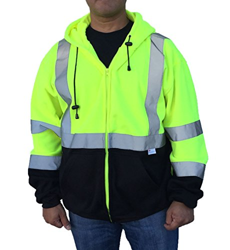 3C Products Men's Safety Fleece Hoodie Jacket XL Neon Green