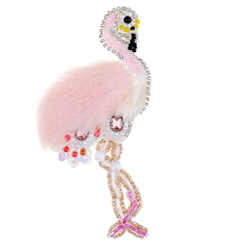 - Pink Swan Beaded Rhinestone Embroidered Patch Sew on Applique Clothes Decor