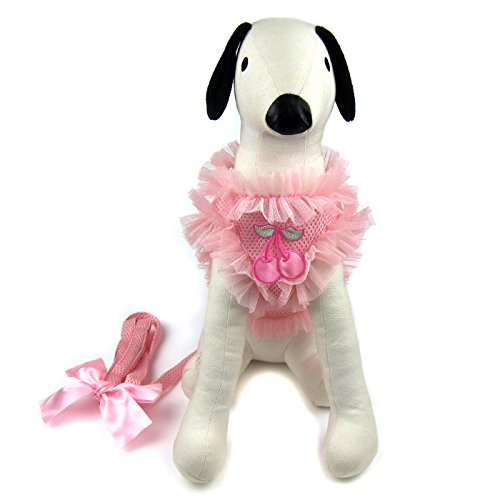 (Alfie Pet by Petoga Couture - Alex Diva Ruffle Harness and Leash Set - Color: Pink, Size:)