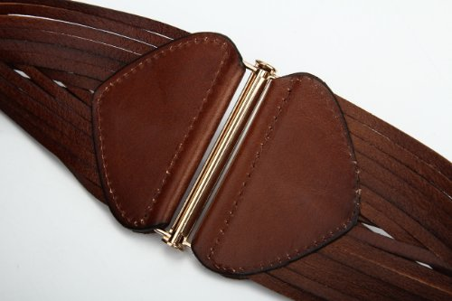 Women's Korean Style Simple Fashion Leather Wide Weave Belt (Brown) by RUI (Image #6)