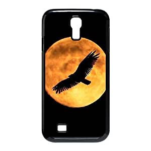 Samsung Galaxy S4 Cases Bald Eagle in the Moon, [Black]