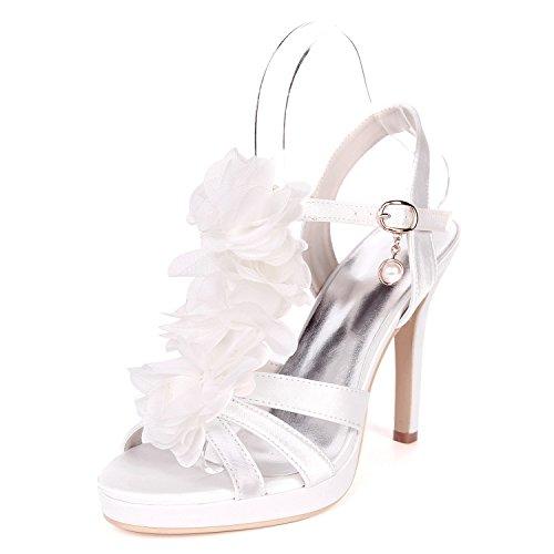 Talon Ouvert Plate 5915 Stiletto UK2 Ager De 18H Base EU35 Forme De Pompe Flower Satin Court White Sandales Femmes Chaussures Soirée Chaussures Mariage Bout F7qwwxAZ