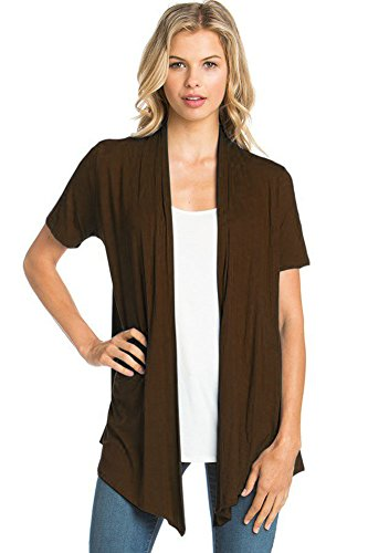 12 Ami Basic Solid Short Sleeve Open Front Cardigan Brown 2X
