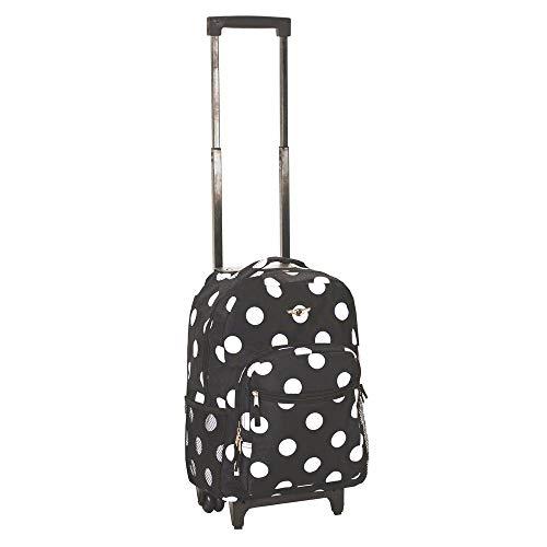 (Rockland Luggage 17 Inch Rolling Backpack, Black/White Polka Dot)