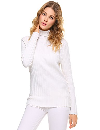 Abollria Women's Long Sleeve Solid Lightweight Soft Knit Mock Turtleneck Sweater Tops Pullover White