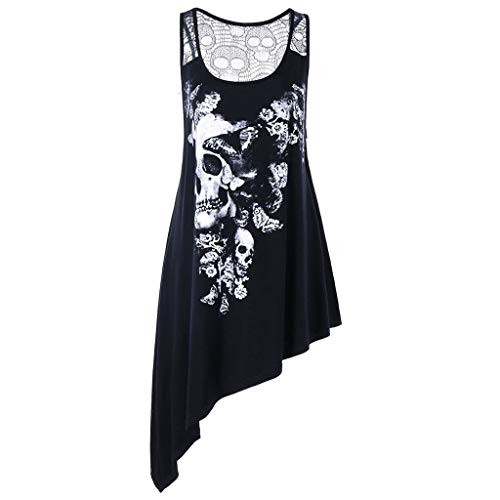 Plus Size Women Irregular Tank Tops Fashion U Neck Skull Printed Hollow Out Spandex Sleeveless Blouse Vest XL-5XL Black