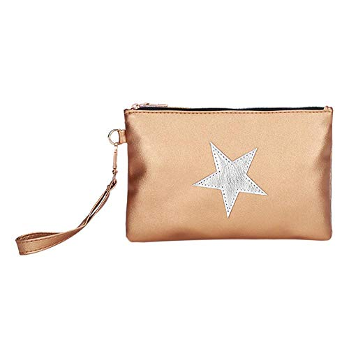 Women Clutch PU Leather Coin Phone Purse Casual Star Wristlet Light Brown