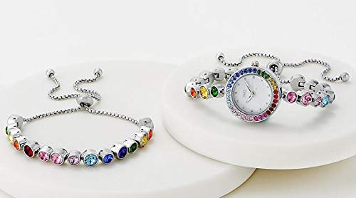 Diamonique Multi-Color Adjustable Watch & Bracelet Set Rainbow Stones