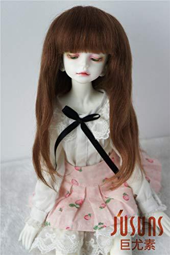 Mohair Brown Light (JD084 7-8inch 18-20CM Long Slight Wave Mohair Doll Wigs 1/4 MSD Doll Accessories (Light Brown))