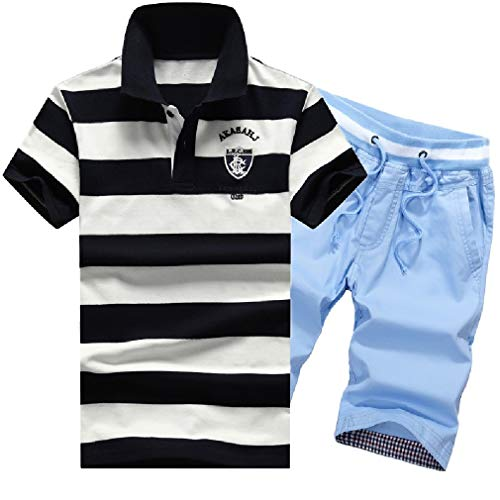 - Sayah Men's Stripe Printing Cotton Pocket T-Shirts and Shorts Set 4 XL