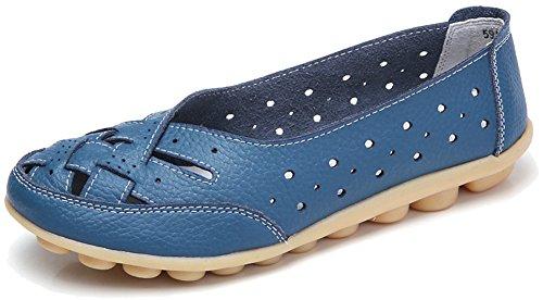On Fangsto Loafers Cutout Slip Blue Flats Leather Light Cowhide Womens Sandals Shoes ww8U6HF