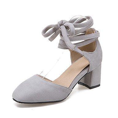 Sandalias Primavera Verano Otoño Zapatos Club Fleece Oficina & Carrera visten casual Chunky Heel Lace-up Gray