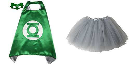 Superhero or Princess TUTU, CAPE, MASK SET COSTUME - Kids Childrens Halloween (Green Lantern - Green & (Green Lantern Womens Costume)