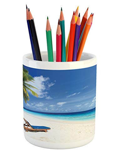 Cheap  Lunarable Seaside Pencil Pen Holder, Tropical Beach Chair Sand Palm Trees Sunny..