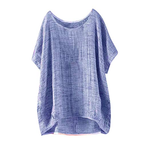 - TOTOD Linen Tops Women T-Shirt Comfortable Bat Short Sleeve Casual Top O-Neck Thin Section Blouse Pullover (Blue,4XL/(US:16))