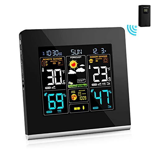 AEVOBAS Wireless Weather Station, Weather Monitoring Clocks, Digital Hygrometer Indoor Outdoor Thermometer, Weather Forecast Station with HD Display Screen, Temperature Humidity Gauge with Sensor