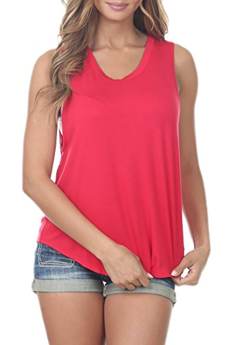 Re.Born RBWT016 Womens Classic Sleeveless Wide Armhole Relaxed Muscle Tee Tank Top Red M