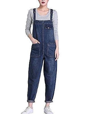 Sobrisah Women's Casual Baggy Fit Denim Bib Cropped Harem Romper Jumpsuit Pants Overalls Trousers Pockets