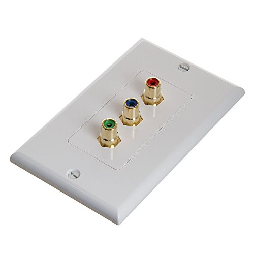 Cmple - RCA Wall Plate - Component Video 3-RCA Gold Plated Connector