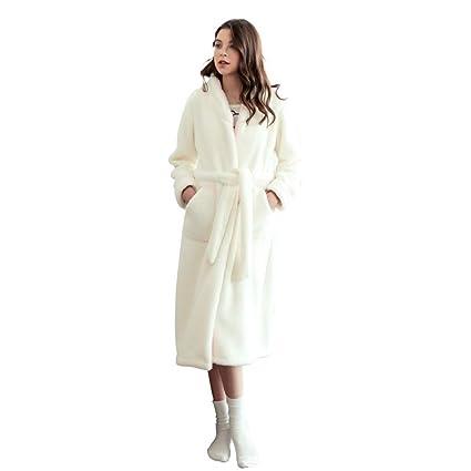 Bata De Baño Suave con Vellón Blanco para Mujer Bata De Casa con Cinturón Ropa De