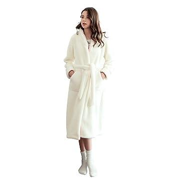 Bata De Baño Suave con Vellón Blanco para Mujer Bata De Casa con Cinturón Ropa De Dormir De Franela para Mujeres En El SPA del Hotel,White-S: Amazon.es: ...