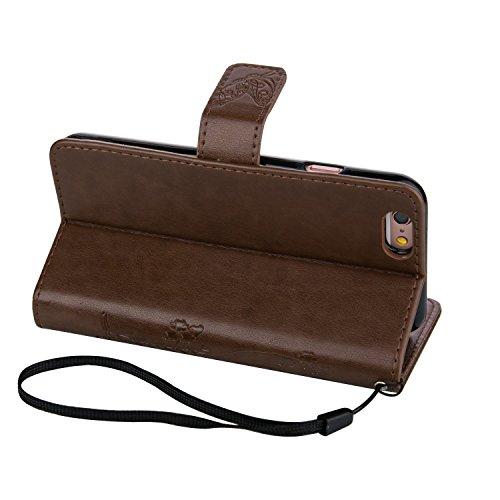 Voguecase® für Apple iPhone 5 5G 5S hülle, Kunstleder Tasche PU Schutzhülle Tasche Leder Brieftasche Hülle Case Cover (Schmetterlinge 2-Braun) + Gratis Universal Eingabestift