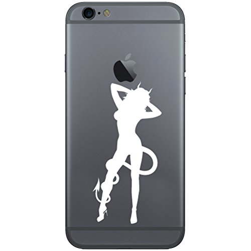 Sexy Devil Girl Horns Tail Silhouette Vinyl Cell Phone Decal for the iPhone or Android (WHITE 2