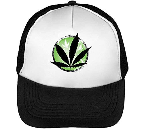 Weed Leaf Gorras Hombre Snapback Beisbol Negro Blanco