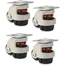 """Set of 4 Level Casters with 2"""" Nylon Wheel & Retractable Leveling Leg 600#"""