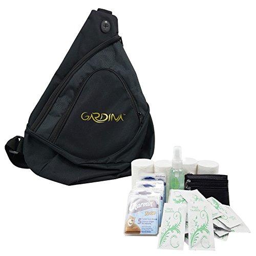 t Bundle Survival Kit for Public Washrooms includes Seat Covers Toilet Paper Tissue Mist Moist Towelette Change Purse Unisex Black Sling Bag ()