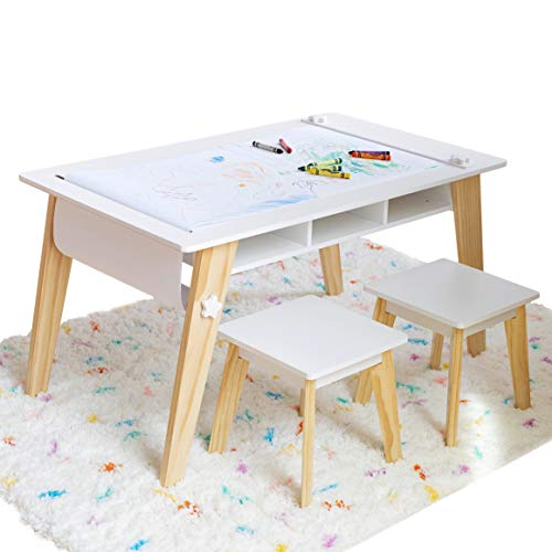 Wildkin Kids Arts and Crafts Table Set for Boys and Girls, Mid-Century Modern Activity Table Includes Two Stools and Paper, Two Storage Cubbies Underneath Table Help Keep Art Supplies Organized (Craft Table Stool)