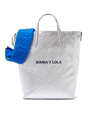 Lola Femme Bimba Silver shopper leather y bag 182BBSH1C fqnp1w5