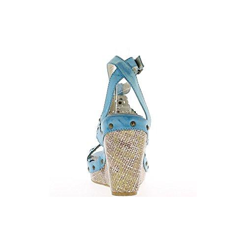 Sandales compensées bleues à talons de 11 cm et plateau de 3,5 cm