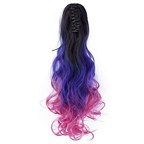 Puyujin 21.6 Inches Full Long Curly Wavy Rainbow Hair Wig for Costume Cosplay Party Halloween - Harajuku Lolita Style Heat Resistant (F)]()