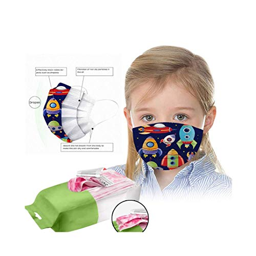 Wendeyipi 50Pcs Disposable Face Bandanas for Children, 3 Ply Non-Woven with Cute Pattern Breathable Indoor Outdoor