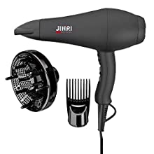 JINRI Hair Dryer Professional Infrared Salon Blow Dryer 1875W Negative Ionic Ceramic Hair Dryer 2 Speeds 3 Heat Settings Cold Shot Button CETL Certified (Black) (L)