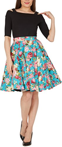 BlackButterfly Floral Vintage Divinity Full Circle 1950's Skirt (Turquoise, US (Turquoise Floral Skirt)