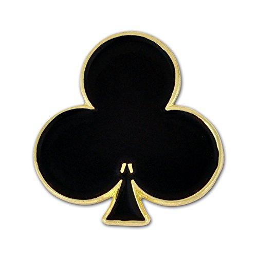 PinMart Black Clubs Playing Card Suit Enamel Lapel Pin -