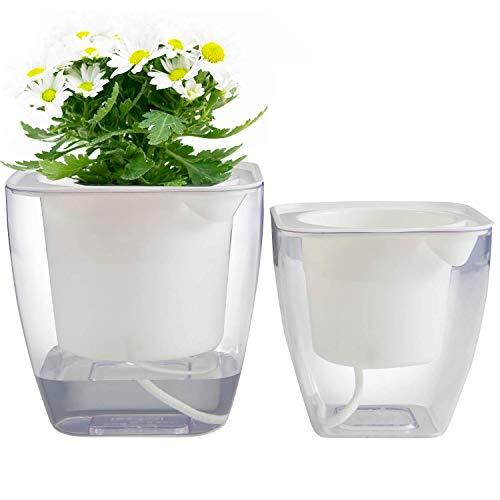 Flower pots indoor or Outdoor, Succulent Pots, Self Watering Planter, Self Watering Pot 5'' & 4.3'' (M & S 2PCS PACK) by ALIN