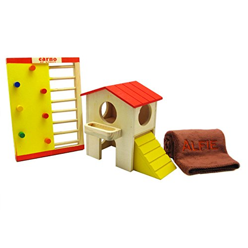 Alfie Pet by Petoga Couture - GARI Wood Hut (Medium) and Jami Wooden Playgym with Microfiber Fast-Dry Washcloth for Small Animals like Dwarf Hamster and Mouse by Alfie