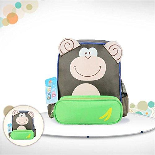Nette Kinder Cartoon-Tier Rucksäcke Schultasche Kindergartentasche Affe