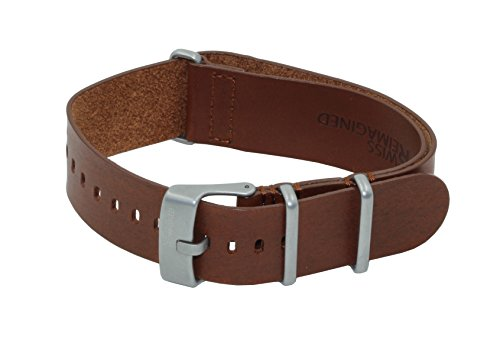 SWISS REIMAGINED Military Watch Strap Cognac Leather Stainless Steel Buckle - 20mm Leather Gear Cuff Watch