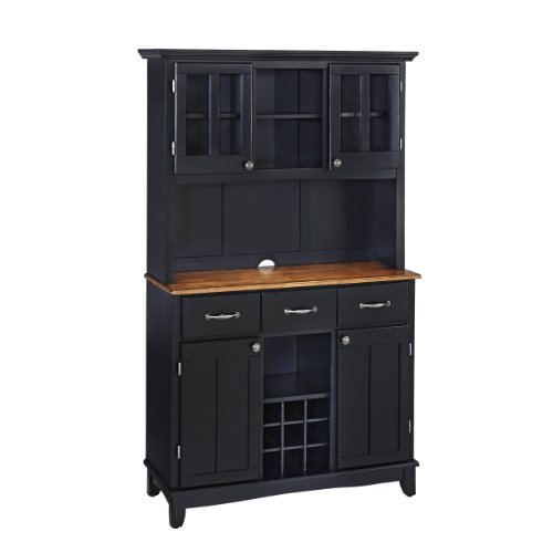 Buffet of Buffets Black with Cottage Oak Wood Top with Hutch by Home Styles