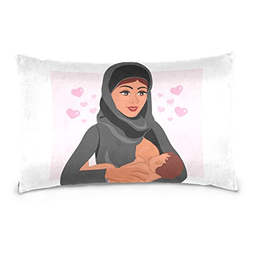 Top Carpenter Muslim Mother Holding Baby Velvet Oblong Lumbar Plush Throw Pillow Cover/Shams Cushion Case - 20x36in - Decorative Invisible Zipper Design for Couch Sofa Pillowcase Only by Top Carpenter