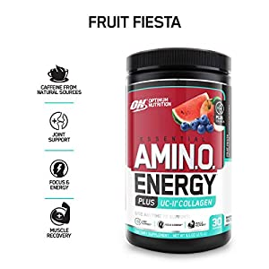 Optimum Nutrition Amino Energy + Collagen Powder – Vitamin C for Immune Support, Pre Workout with Green Tea, Amino Acids, Energy Powder – Fruit Fiesta, 30 Servings
