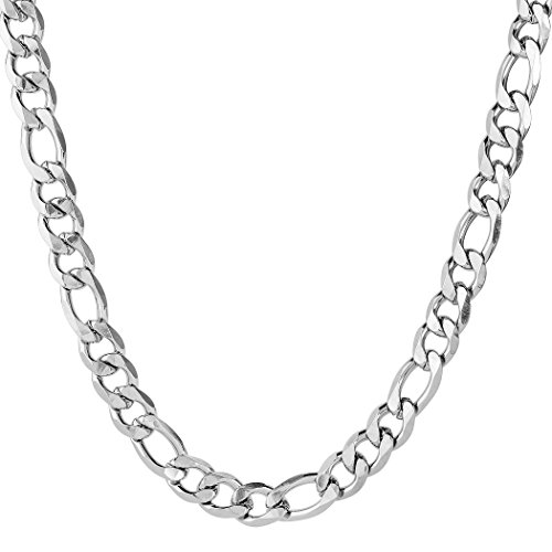 West Coast Jewelry | Crucible Men's Stainless Steel Beveled Figaro Chain Necklace (12 mm) - 24