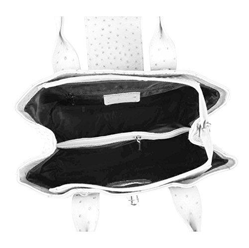 ital OBC piel en bandolera bolsa de la compra bolso para Tablet/ipad 25,4 cm, color, talla 37x24x17 cm (BxHxT) Blanco (pétalos en relieve)