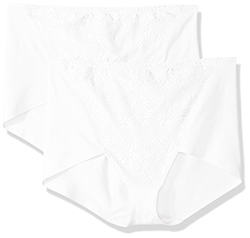Bali Women's Designs Ultra Control 2-Pack Cottony Brief, White, 3X Large