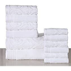 600 GSM Cotton 12 Piece Towel Set (White): 1 Jacquard and 1 Solid Bath Towel, 2 Jacquard and 2 Solid Hand Towels, 3 Jacquard and 3 Solid Washcloths, Long-staple Cotton, Absorbent, Machine Washable